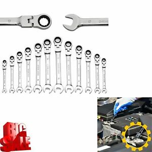 New Gearwrench 12pc Standard Metric Mm Ratcheting Combination Wrench Set