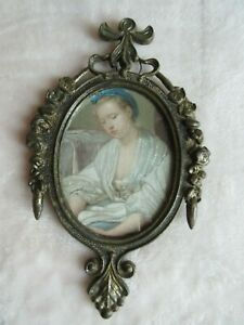 Vintage Italy Metal Frame Picture Frame Lady Ornate Roses Victorian Decor