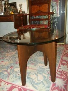 Adrian Pearsall Stingray Walnut Coffee Table With Thick Glass Top