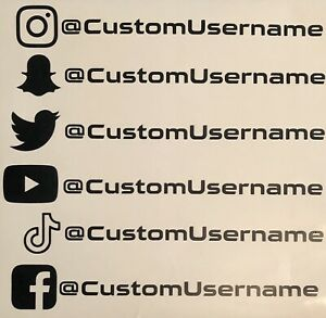 Custom Instagram Snapchat Twitter Youtube Tiktok Facebook Vinyl Decal Sticker