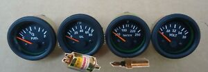With Oil Temp Sender 52mm Electrical Oil Pressure Temp Volt Fuel Gauge Bl Bez
