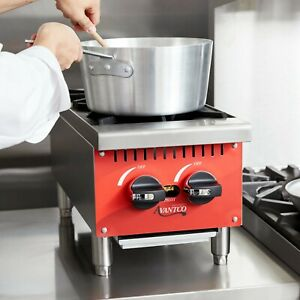 12 2 Burner Gas Range Hot Plate Countertop Restaurant Commercial Propane Lp