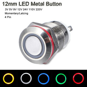 12mm 3v 220v Car Led Power Push Button Metal On off Switch Latching Waterproof