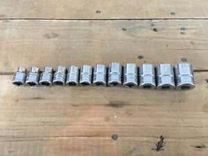 Snap On 212fsmy 12 Pc 3 8 Drive 6 Point Metric Flank Shallow Socket Set 8 19mm