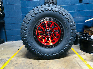 17x9 Fuel D695 Covert Red Wheels Rims 35 Toyo Mt Tires 5x150 For Toyota Tundra