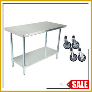 30 X 48 Stainless Steel Work Prep Table Commercial Kitchen Undershelf W Casters