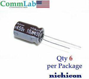 10uf 450v Nichicon Electrolytic Radial Lead Capacitor 6 Pieces