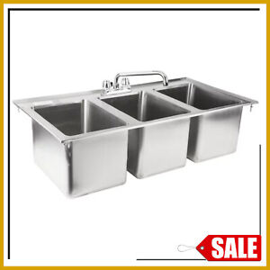 37in Three Compartment Sink Faucet 10 X 14 X 10 Bowl Stainless Steel Drop In