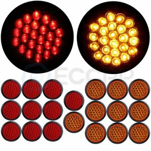 20x Red Amber 4 Inch Round 24led Trailer Truck Side Marker Clearance Tail Light