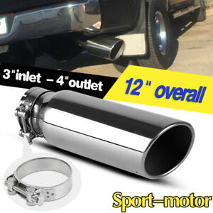 3 Inlet Truck Exhaust Tip 4 Outlet 12 Long Stainless Steel Tail Pipe Clamp On