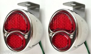 Led Red Stainless Steel Taillights Hanging Undermount Bracket Flat Bed Dump D1