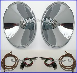 1933 1934 Ford Headlight Conversion Kit 12 Volt Halogen Bulb Chrome Reflector