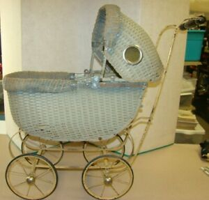 Vintage American Wicker Baby Doll Carriage Stroller Collectible 1930 S