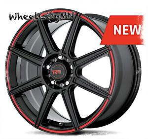 15 Inch Satin Black Red Motegi Mr142 Rims Fits Toyota Corolla Prius 5x100 5x4 5