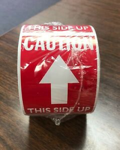Tape Logic Scl511r Labels caution This Side Up Arrow 3x4 Red white 500
