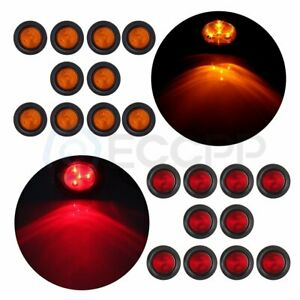 2 5 Inch Round Light Truck Trailer Side Marker Clearance 20x Red amber 4 Led