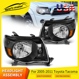 Trd Style Headlights Left Right For Toyota Tacoma 2005 2011 Black Housing Lamps