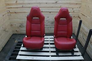 Set 2 Front Driver Passenger Gt Bucket Seat Red Leather Chevy Corvette C7 16 19