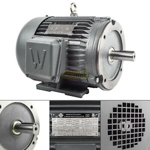 5 Hp 3 Phase Electric Motor C face 3600 Rpm 184tc Tefc 230 460 Volt Severe Duty
