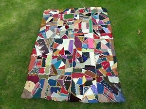 Embroidered Crazy Quilt Top Family Antique Signed Dated 1896