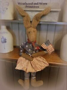 Primitive Country Patriotic Grungy Easter Bunny Holding American Flag 36 Tall
