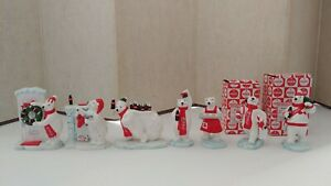 7 Vintage 1997 Coca-Cola Polar Bear Porcelain Figurines!2 w/Original box! Nice!