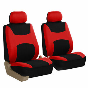 Front 2 Bucket Universal Car Seat Covers Red For Auto