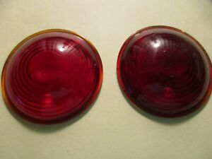 Vintage Red Glass Stop And Tail Light Lenses