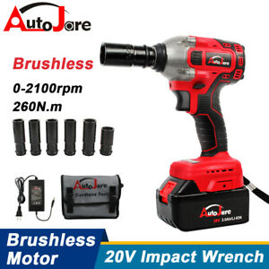 1 2 Brushless Cordless Impact Wrench Torque Drill Tool Battery Recharger 20v
