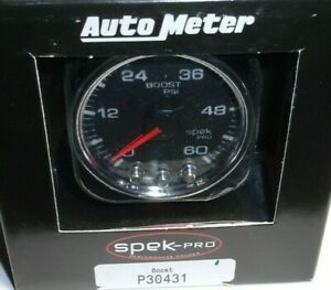 Spek Pro P30431 Boost Gauge 0 60 Psi 7 Color Peak warn Turbo Diesel Black chrome