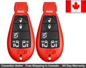2x New Red Keyless Replacement Key Fob Entry Remote For Chrysler Dodge Caravan