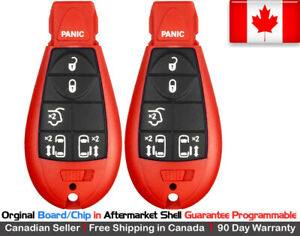 2x Oem New Red Keyless Replacement Key Fob Entry For Chrysler Dodge Caravan