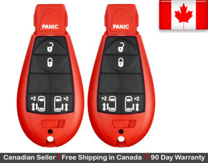 2 x Red New Replacement Keyless Entry Key Fob Remote For Chrysler Dodge Caravan