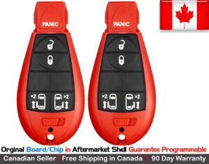 2x Oem New Replacement Keyless Entry Key Fob For Chrysler Dodge Caravan Red