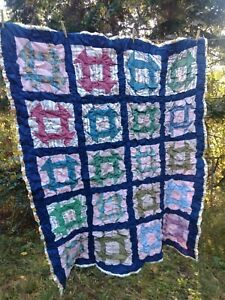 Vintage Antique Hand Stitched Ruffled Children S Quilt 62 X52 Ellen Hawkins