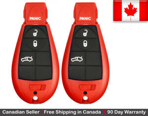 2x Red New Replacement Keyless Entry Remote Control Key Fob For Chrysler Dodge