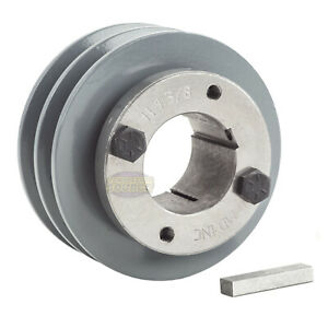 Cast Iron 3 5 2 Groove Dual Belt A Section 4l Pulley With 1 3 8 Sheave Bushing