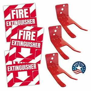 Fire Extinguisher Sign Sticker Bracket Wall Mount Pack Of 3 Self Adhesive