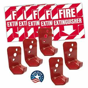 Fire Extinguisher Sign Sticker Bracket Wall Mount Pack Of 5 Self Adhesive