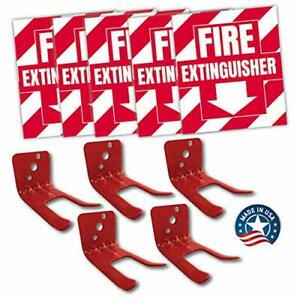 Fire Extinguisher Sign Sticker Bracket Wall Mount Pack Of 5 Self Adh