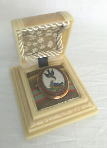 Antique Gold Mounted Micromosaic Micro Mosaic Plaque For Gift Or Collector