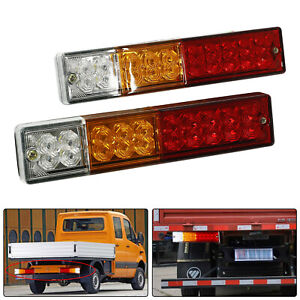 2x 20 Led Trailer Tail Light Bar Red Amber White Rear Turn Signal Brake Reverse