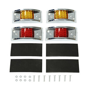 2 Amber 2 Red Sealed Chrome 12 Led Side Marker Clearance Truck Trailer Lights