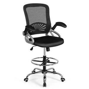 Mesh Drafting Chair Mid back Office Chair Adjustable Height W flip up Arm Black