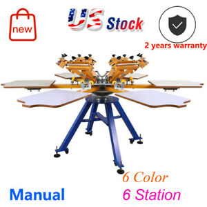 Carousel 6 Color 6 Station Screen Printing Press Machine T shirt Printer
