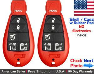 2x New Replacement Remote Key Fob Case For Chrysler Dodge Caravan Vw Red Shell