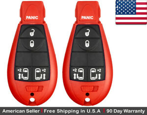 2x New Replacement Keyless Entry Remote Key Fob For Chrysler Dodge Caravan Red
