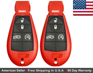 2x New Replacement Keyless Entry Remote Key Fob For Dodge Chrysler Red