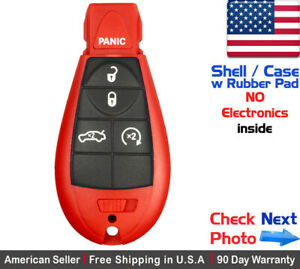 1x New Replacement Keyless Entry Key Fob For Dodge Chrysler Red Shell Only