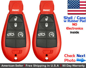 2x New Replacement Keyless Entry Key Fob For Dodge Chrysler Red Shell Only